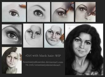 Girl with black hair - WIP by AnastasiyaKosenko