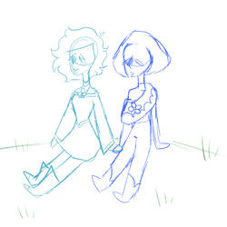 Abbi and Blue Amber hold hands by LavenderWinged