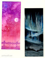 two watercolour test bookmarks by enonea