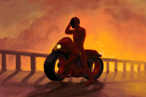 The Red Bike Protagonist by enonea