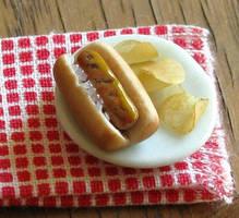 Bratwurst and Chips by fairchildart