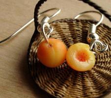 Polymer Clay Peach Earrings by fairchildart