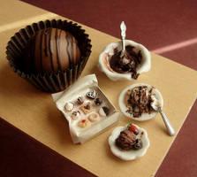 Dollhouse Chocolatey Desserts by fairchildart