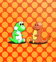 Yoshi and Charmander by doommaker1000