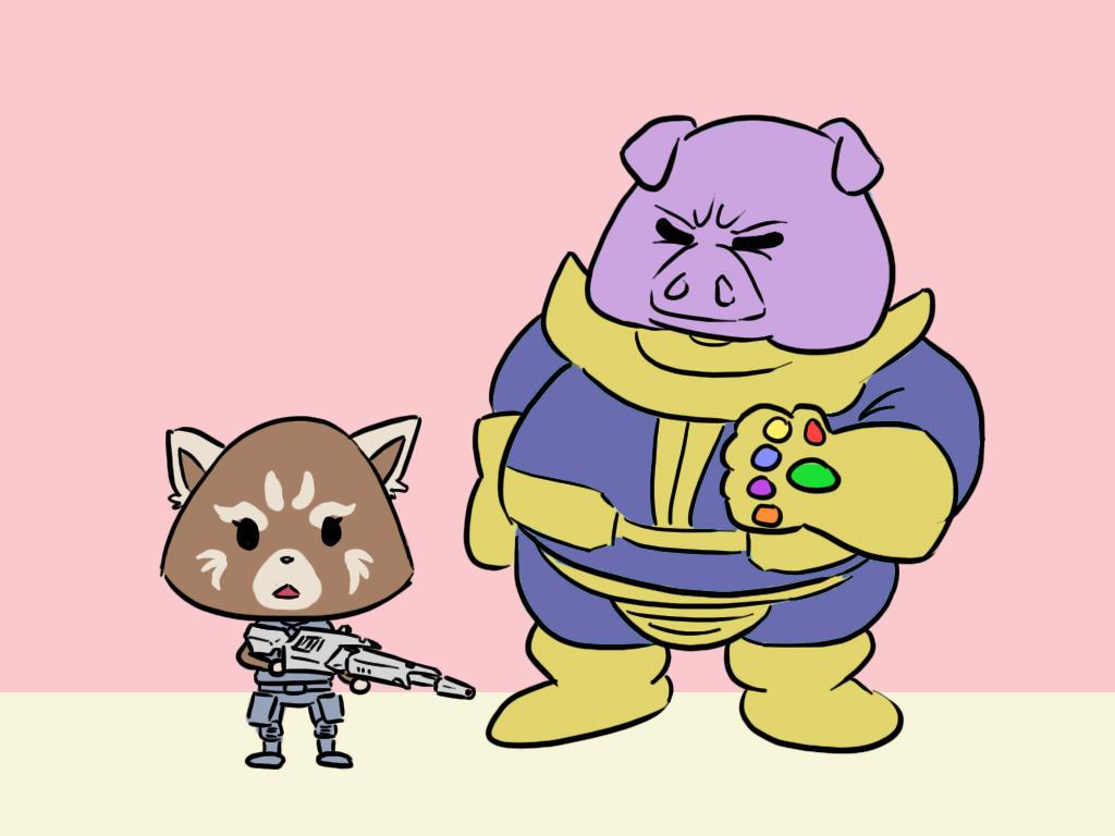 Rocket Raccoon and Thanos by funkyninjamagic