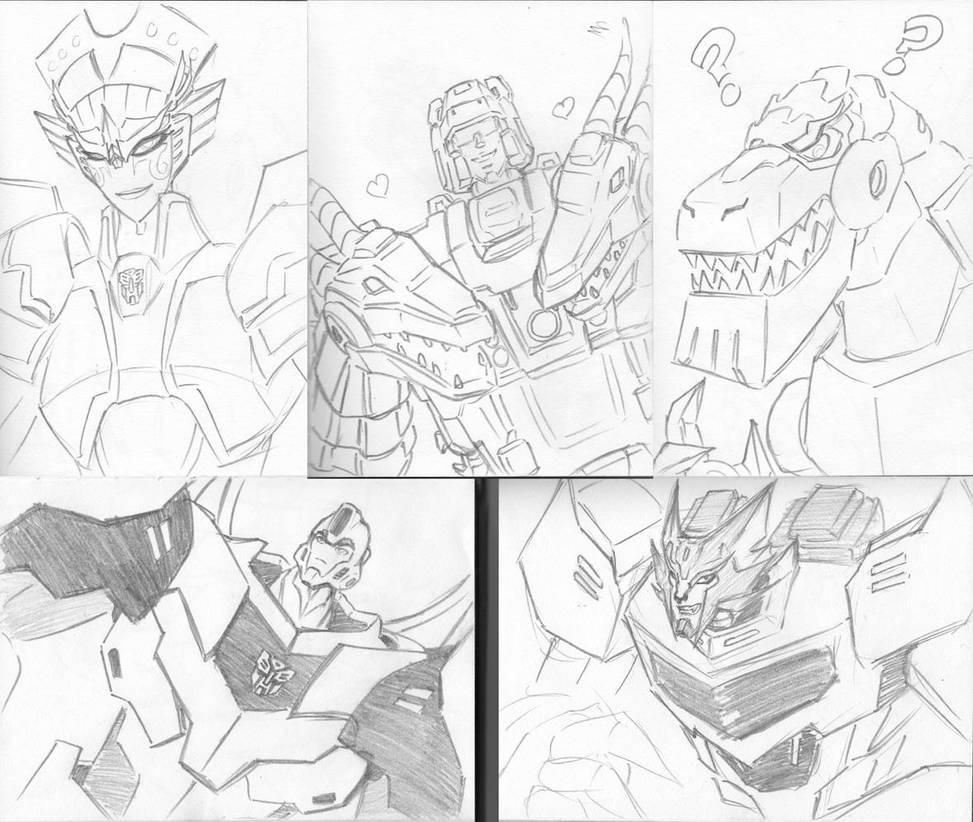 Transformers RID characters sketch dump by funkyninjamagic