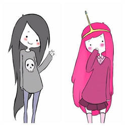 Bubblegum and Marceline Cute by Wolf-Stars