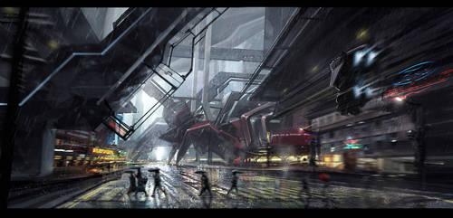 Scifi street by gunsbins