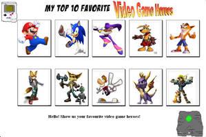 My Top 10 Favorite Video Game Heroes by Toongirl18