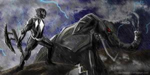 Black power ranger fan art by goldenmurals