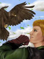 Man with Eagle by PhoenixiaRed