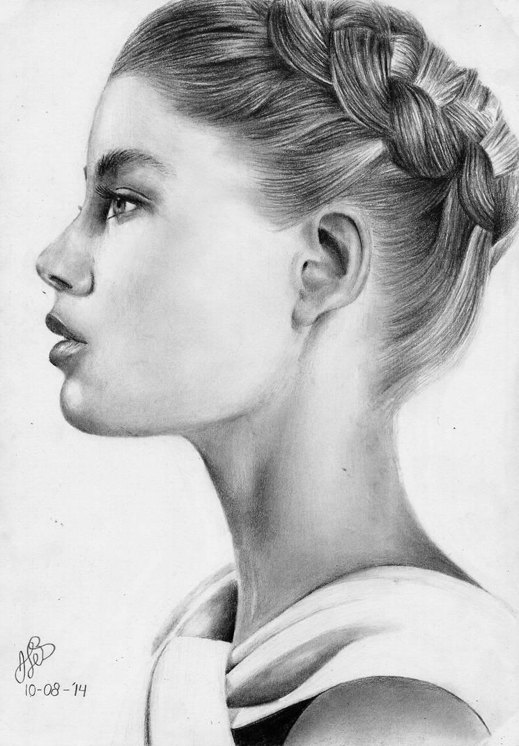 Doutzen Kroes portrait drawing (tekening) by textmixer