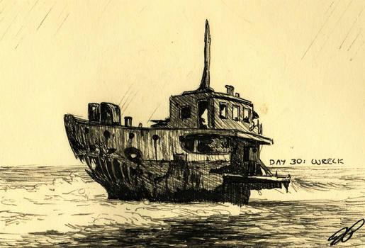 Inktober Day 30: Wreck by Baraayas