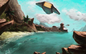 Space ship landing by cury