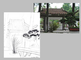 Scenery Sketch - Gazebo 2 and Banzai Tree by AnimeVeteran