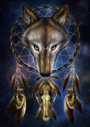 Wolf Skull Dream Catcher by KhaliaArt