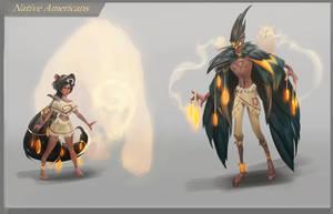 Native Americans in magic world by Nieris