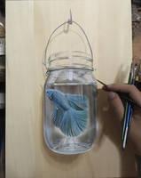 Betta Fish In Jar In Progress by ivanhooart