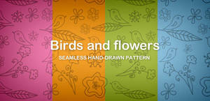 Birds and flowers seamless pattern (Free PNG) by DuckFiles