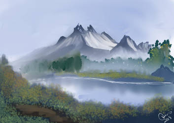 Painting With Bob Mountain by Raiinbolivia