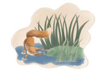Fox Mouse and Pond by Raiinbolivia