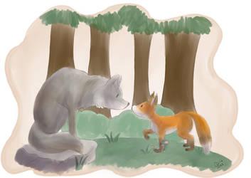 Fox Meets Wolf by Raiinbolivia