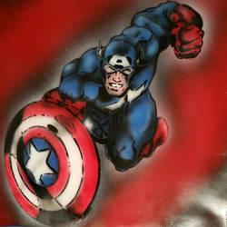 Captain America - Stencil Airbrush  by MrFreeDeviant