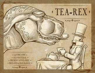 Tea-Rex by zillabean