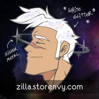 Silver Star Shiro enamel pin by zillabean