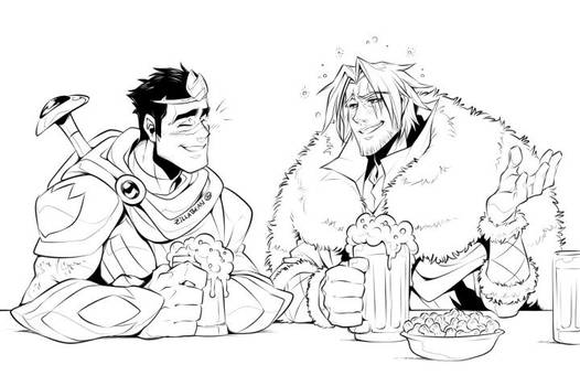 Commission:  Tavern Buddies by zillabean
