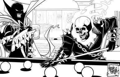 Spawn meets Ghostrider Commission Inks by MistahMahvel