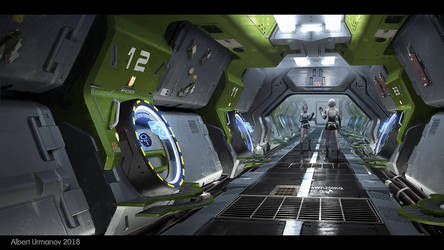 Escape pods corridor by AlbyU