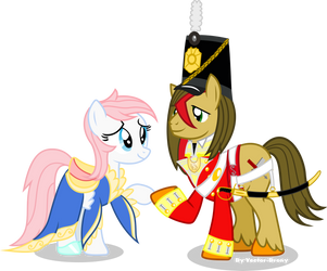 Woodchip and Redheart by Vector-Brony