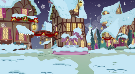 Ponyville in snow by Vector-Brony