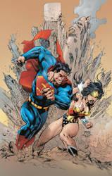 Superman Vs Wonderwoman by roncolors