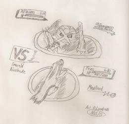 Marriland Fanart - Fries VS Metagross by Lycodrake