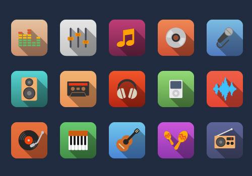 Music flat icons by Alexgorilla