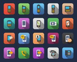 Phone flat icons by Alexgorilla