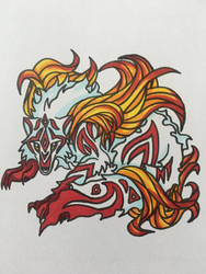 Flame wolf tattoo  by roxasroxs