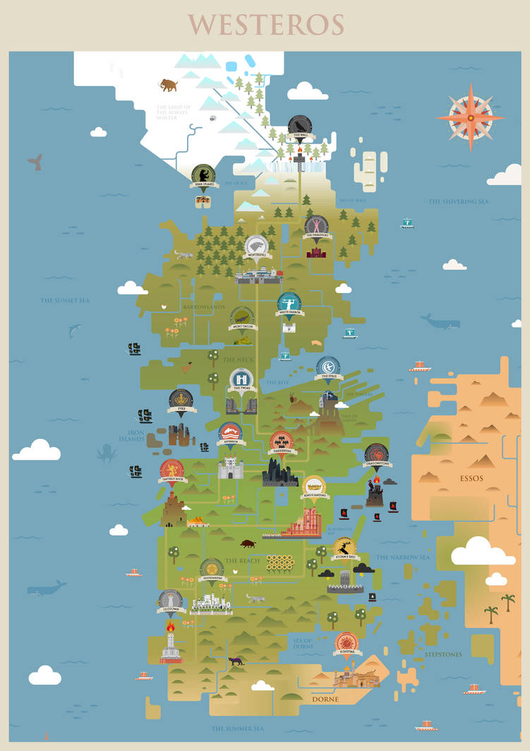 Game Of Thrones Westeros Map By Sanjota On Deviantart