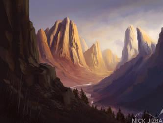 Illuminated Mountains by Jizba