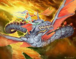 Female Dragon Rider by julientainmont