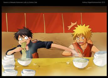 Luffy vs. Naruto by aubs-nin