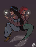 Jasmine and Ariel by Octorin