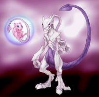 Mew and Mewtwo by RtRadke