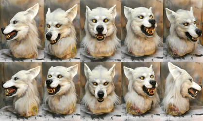 White snarly werewolf mask and gloves SOLD by Crystumes