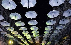 Night Umbrellas by SugarFirefly