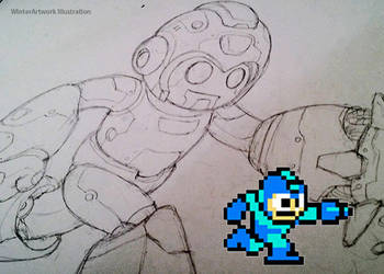Mega Man Sketch by Winter-artwork