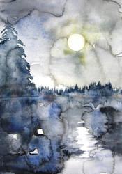 moonlight on river by BlueCaroline
