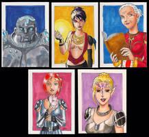 DA:O Sketchcard set 1: girls by bukittyan